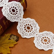2 Yards Round White Lace Ribbon Trims 7.2cm Width Embroidered Patches For Home Textile Sewing Decoration Fabrics DIY