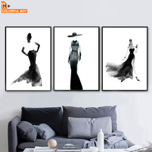 Watercolor Fashion Girl Wall Art Canvas Painting Abstract Nordic Posters And Prints Pictures For Living Room Home Decor