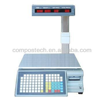 Electronic scale with barcode printer for supermarket or retailer shop