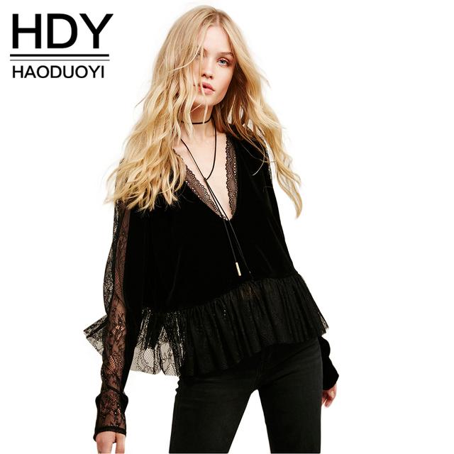 Hdy haoduoyi moda outono mulheres tops sólido preto sexy lace contraste V-neck Folho Fino Camisa Básica Ocasional Cortar Feminino blusa
