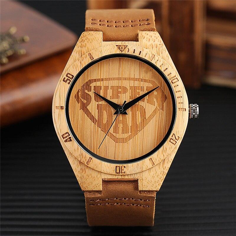 Neue Manner Bambus Uhr Super Dad Skript Vorwahlknopf Analoge