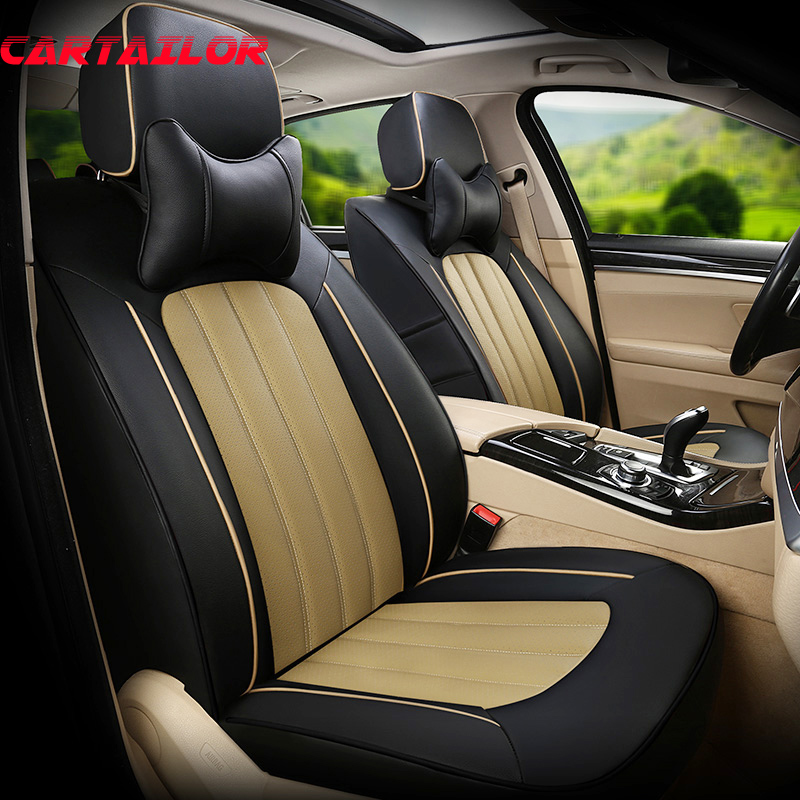 CARTAILOR Seat Covers & Supports for BMW 116i Car Seat Cover Accessories Cowhide & Artificial Leather Seats Protector for 118i