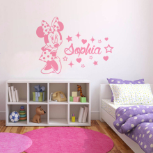 Minnie Mouse Custom Name Wall Decal Personalized Baby Girl Sticker Nursery Room Vinyl Art AY1532