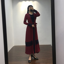 Muslim national style deep red lace beaded striped cardigan robes two-piece suit summer Islamic long-sleeved ladies dress(China)