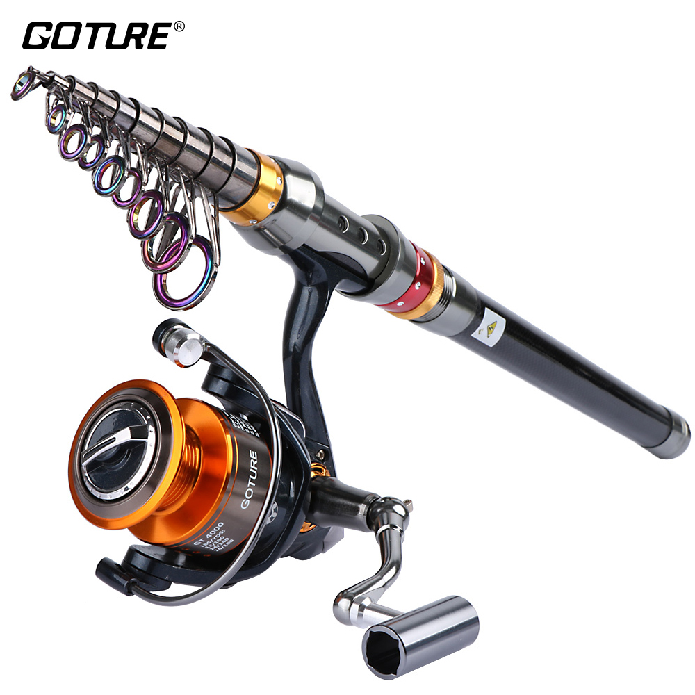 Goture Fishing Rod Combo 1.8M - 3.6M Carbon Fiber Telescopic Fishing Rod + Spinning Reel GT4000 Sea Boat Rock Fishing Set