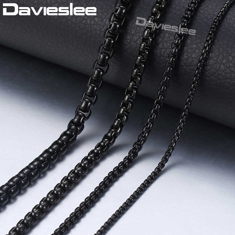 Davieslee Mens Necklace Black Chain Stainless Steel Round Box Link Wholesale Jewelry Gift Customized 2/3/4/5mm 18-36inch LKNM118
