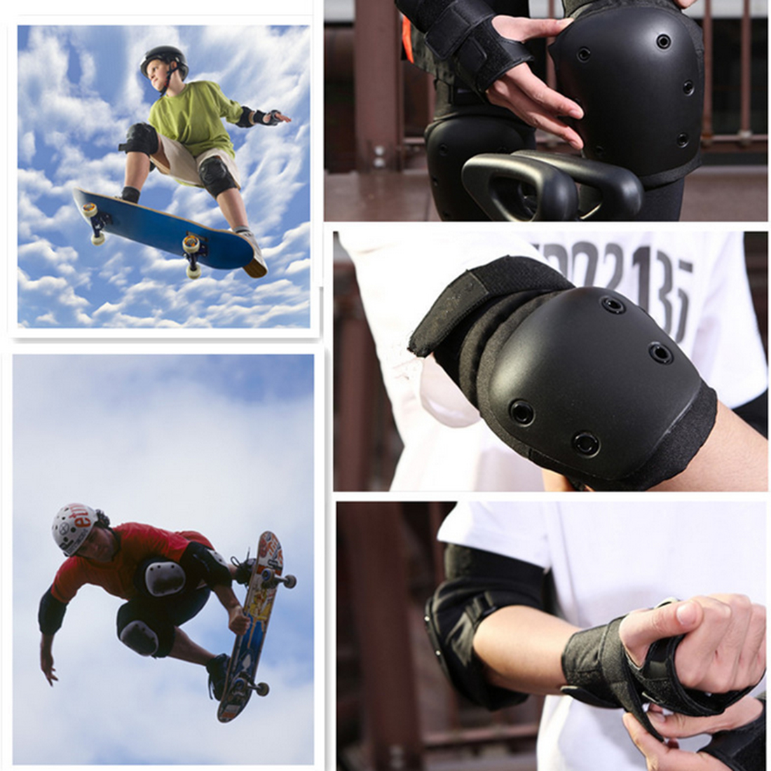 iguardor 7Pcs Set Sport Safety Protective Gear Elbow Wrist Knee Pads and Helmet Guard for Kids Adult Skateboard Riding Equipment smith safety gear leopard elbow pads