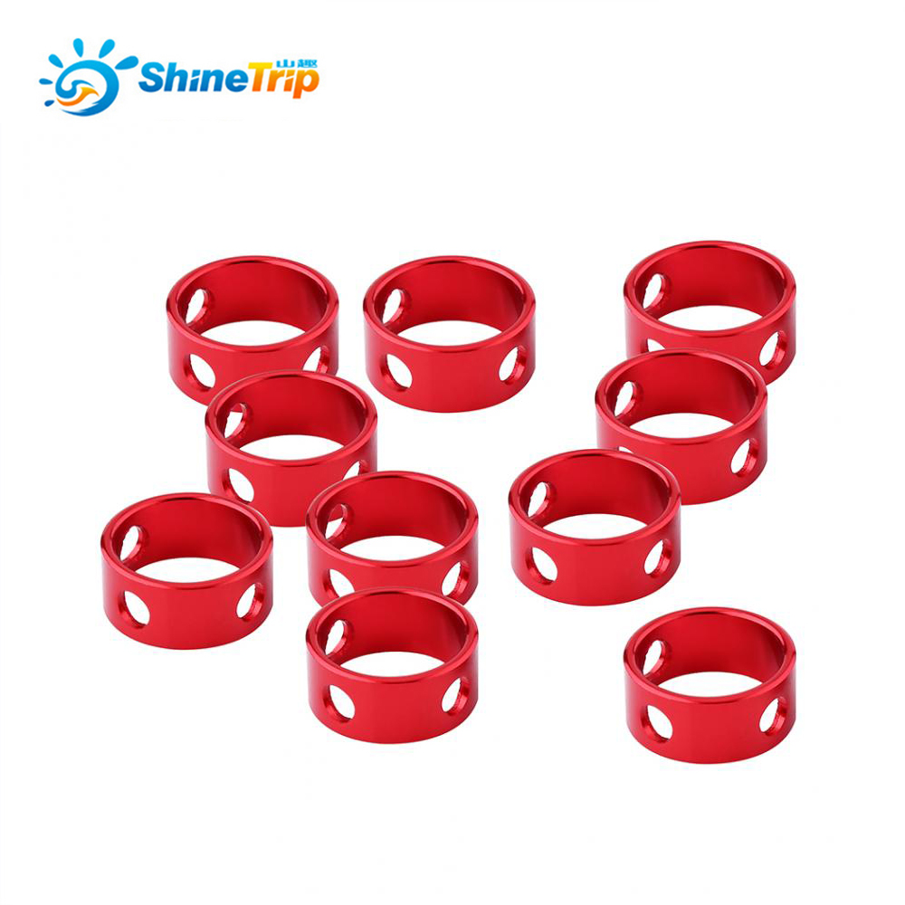 Shinetrip 10pcs Quick Release Camping Tent Rope Adjuster Anti-Slip Wind Rope Buckle Ring Circle Guy Line Stopper for Hiking Kit circle