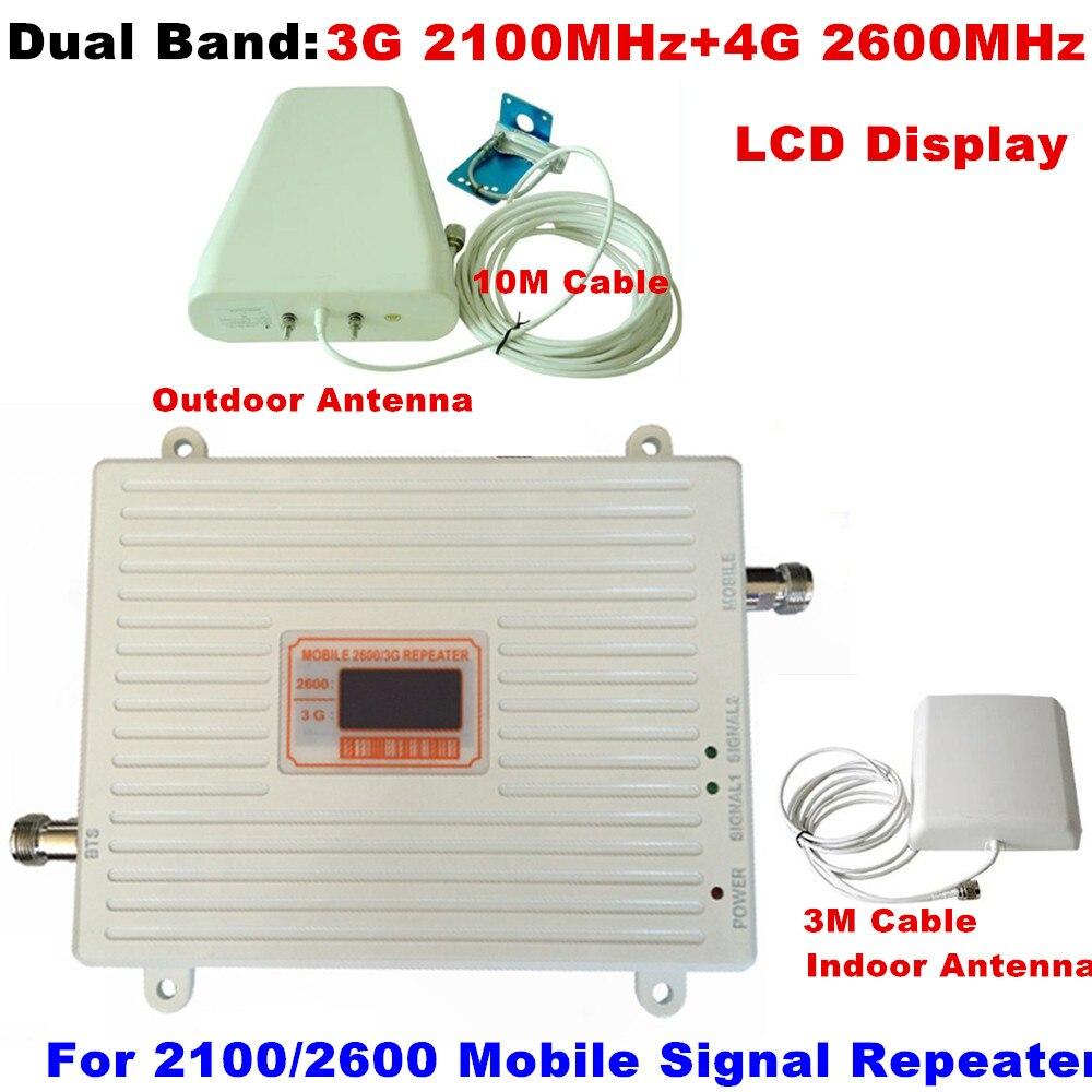 LCD affichage Dual Band Gain 70dB répéteur 3G 2100 MHz + 4G 2600 MHz cellulaire signal booster mobile amplificateur de signal Répéteur