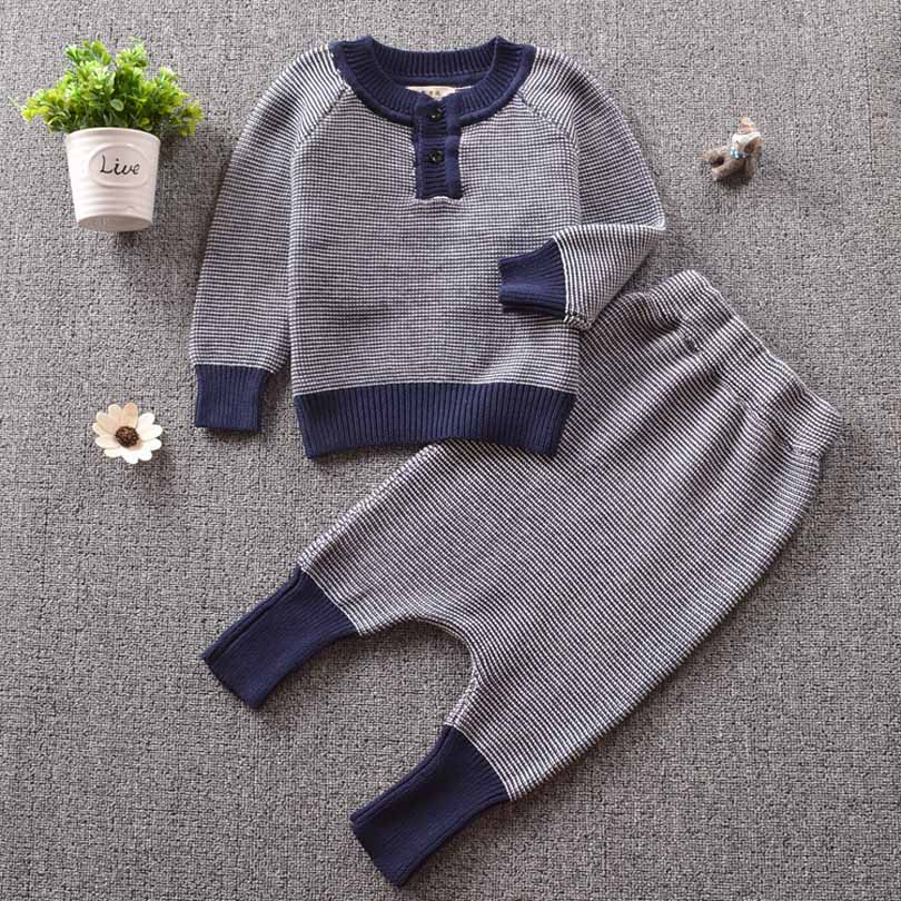 1-5Y Bobo Kids Toddler Children Suit Sweaters Tops Pants Toddler Autumn Winter Baby Trousers Boy Girl Cotton Knit Clothing Set allkpoper autumn winter baby girl boy beanie hats toddler casual solid cotton caps