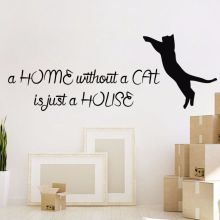 Cat Wall Decal Quote Vinyl Sticker Removable Cats Pet Shop Decor Animal Home Design Art Mural AY394