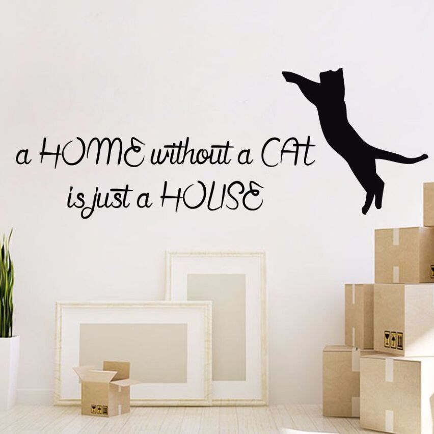 Cat Wall Decal Quote Vinyl Sticker Removable Cats Pet Shop Decor Wall Sticker Cat Animal Home Decor Design Wall Art Mural AY394