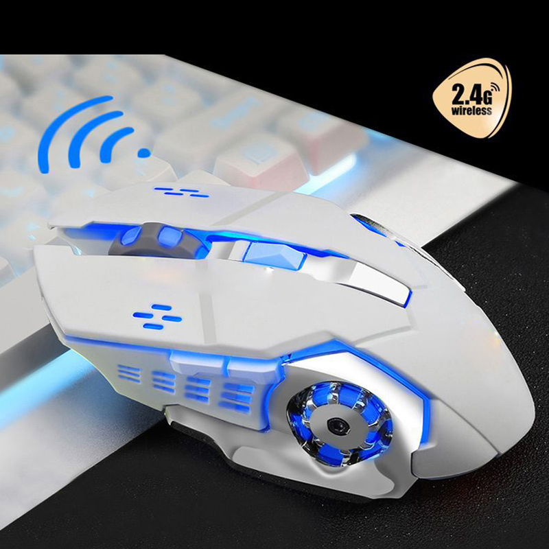 USB Wireless Mouse 1600DPI Optical Mouse Gamer 6 Buttons 2.4G Receiver RGB Backlight LED O