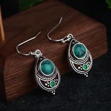 Винтажные Ретро ювелирные изделия, 925 серебряные серьги с зеленым камнем для женщин, женские вечерние богемные серьги, свадебные ювелирные изделия, подарки для девушек