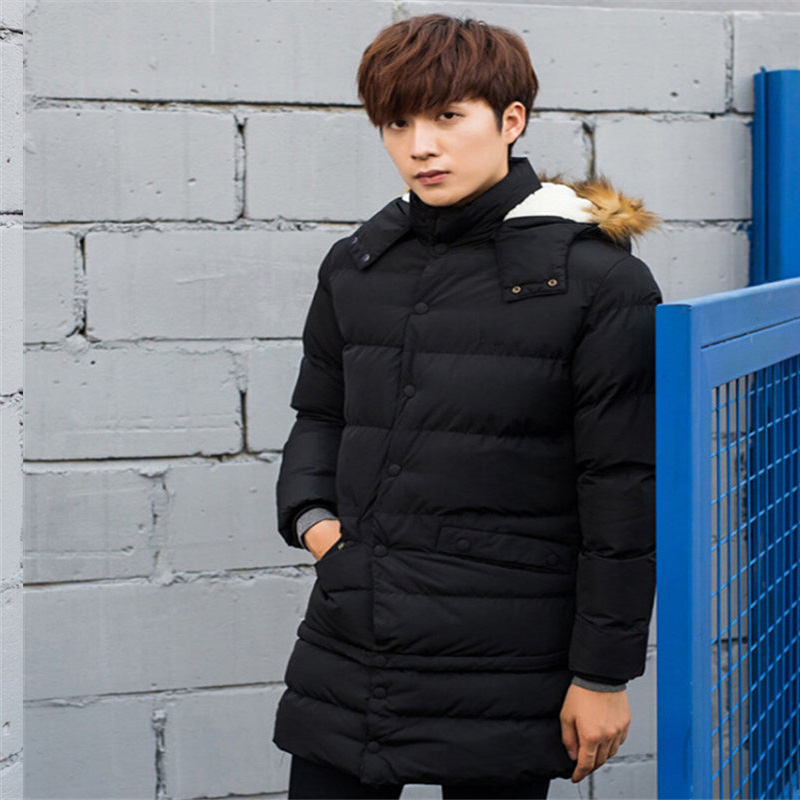 Winter Long Jacket Men Fashion Fur Collar Hooded Parkas Mens Casual Thick Warm Windproof Hoodies Brand Clothing Outwear Coats