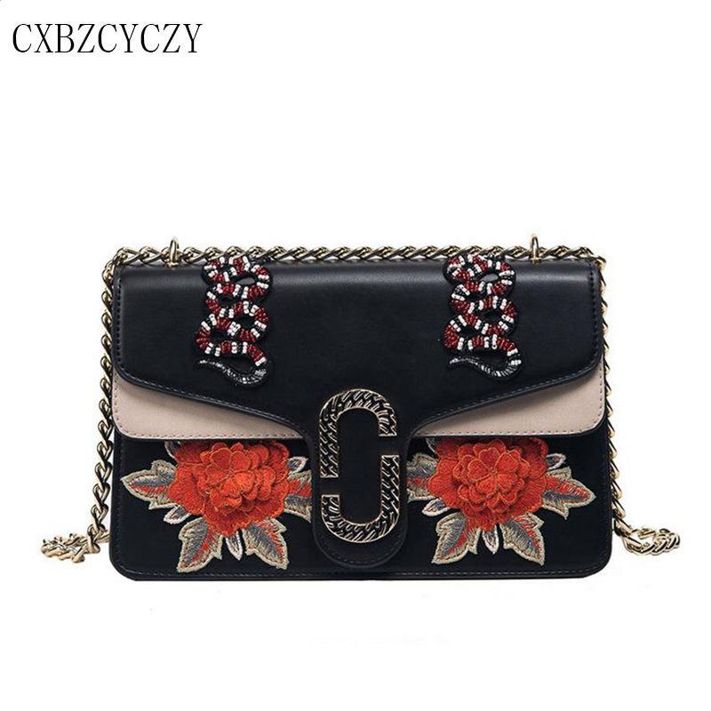 2017 Luxury Brand PU Leather Women Messenger Bag Chain Crossbody Bags for Women Female Ladies Embroidery Handbag Shoulder Bags
