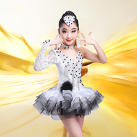 2019 High quality new girls fashion costumes summer Latin samba dress dance performance competition performance skirt