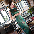 Sleeveless Dress Cheongsam Cheongsam Vintage Elegant Silk Long Paragraph Ankle- Length Print Sheath Evening Women Dress 1648