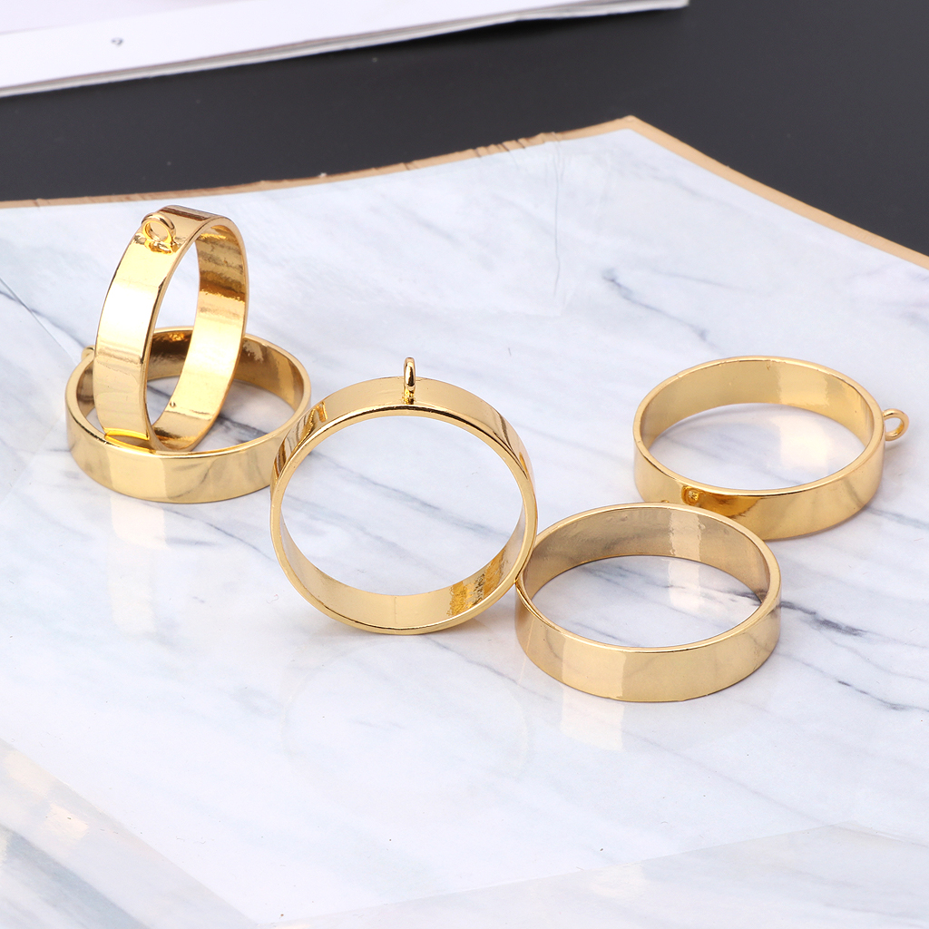 5Pcs Round Framework Open Back Bezels Pendant Blanks For Resin Jewelry Making