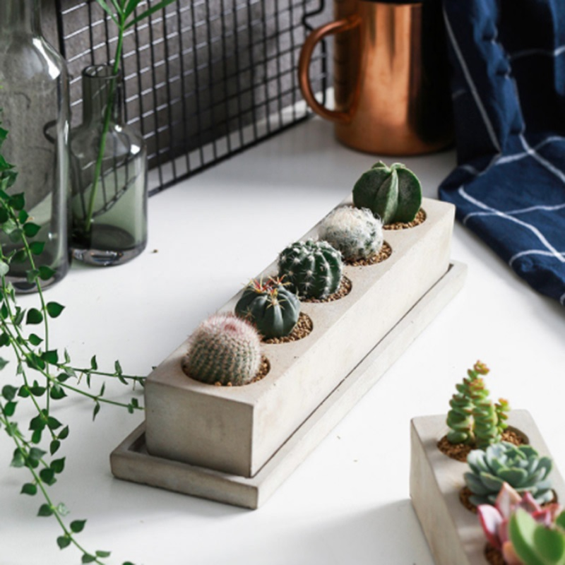 الهندسة ملموسة زهور السيليكا هلام العفن بسيطة خمسة حفرة مستطيلة مركب نوع الخرسانة زهور العفن-في قوالب الطين من المنزل والحديقة على  مجموعة 1