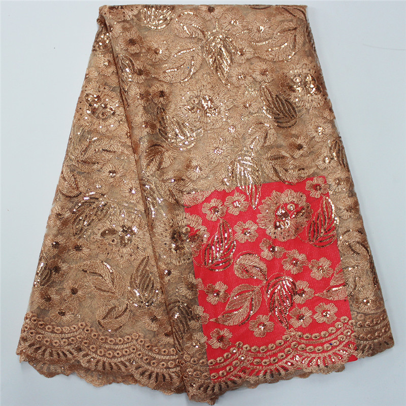 Favourite Design Embroider African Tulle Laces Plain Fabric PF62 , Chemical sequins Lace High quality