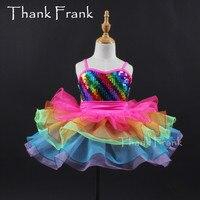 Girls Rainbow Color Ballet Costume Women Colorful Sequin Dance Dress Kids Adult Romantic Camisole Tutu Dresses C477