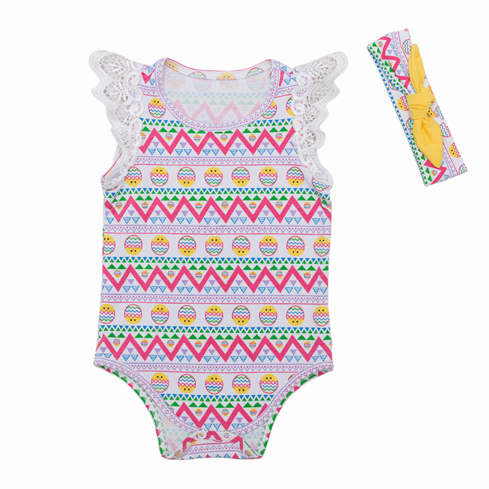 YK Loving Chick Cartoon Baby Rompers Cotton Sleeveless Colorful Lace Spring Autumn Girls Clothing Easter Festival Clothes 1Piece in Rompers from Mother Kids