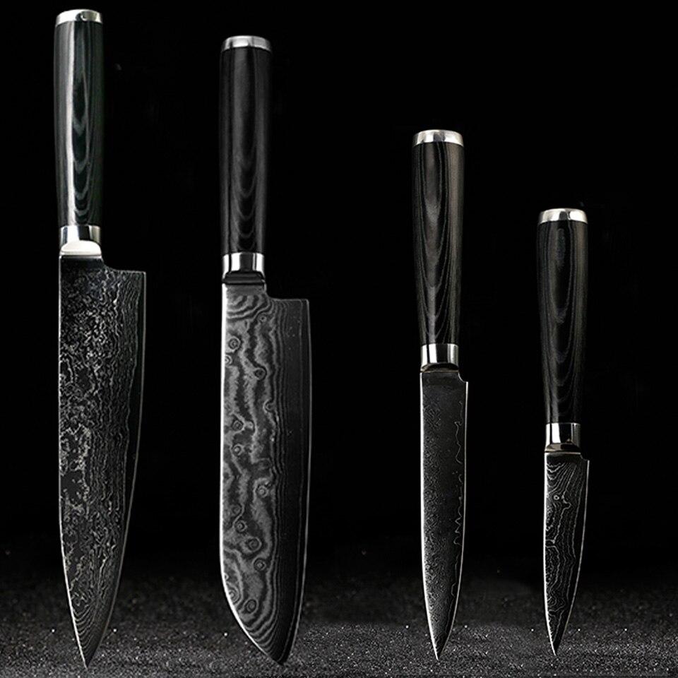 FINDKING Damas couteaux ensemble 8 pouce chef couteau 7.5 pouce santoku 5 pouce utilitaire 3.5 couteau d'office