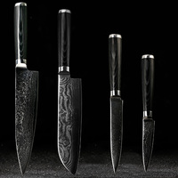 FINDKING Damascus knives set 8 inch chef knife 7.5 inch santoku 5 inch utility 3.5 paring knife