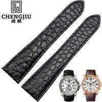 24mm Men's Crocodile Leather Watch Strap For Cartier/Calibre/ W7100041 Top Brand Bracelet Deployment Buckle Bands Accessories
