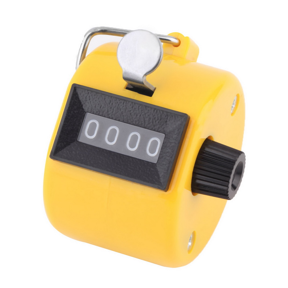 Free Shipping Digital Chrome Hand Tally Clicker/Counter 4 Digit Number Clicker Golf counter Sports counter drop shipping