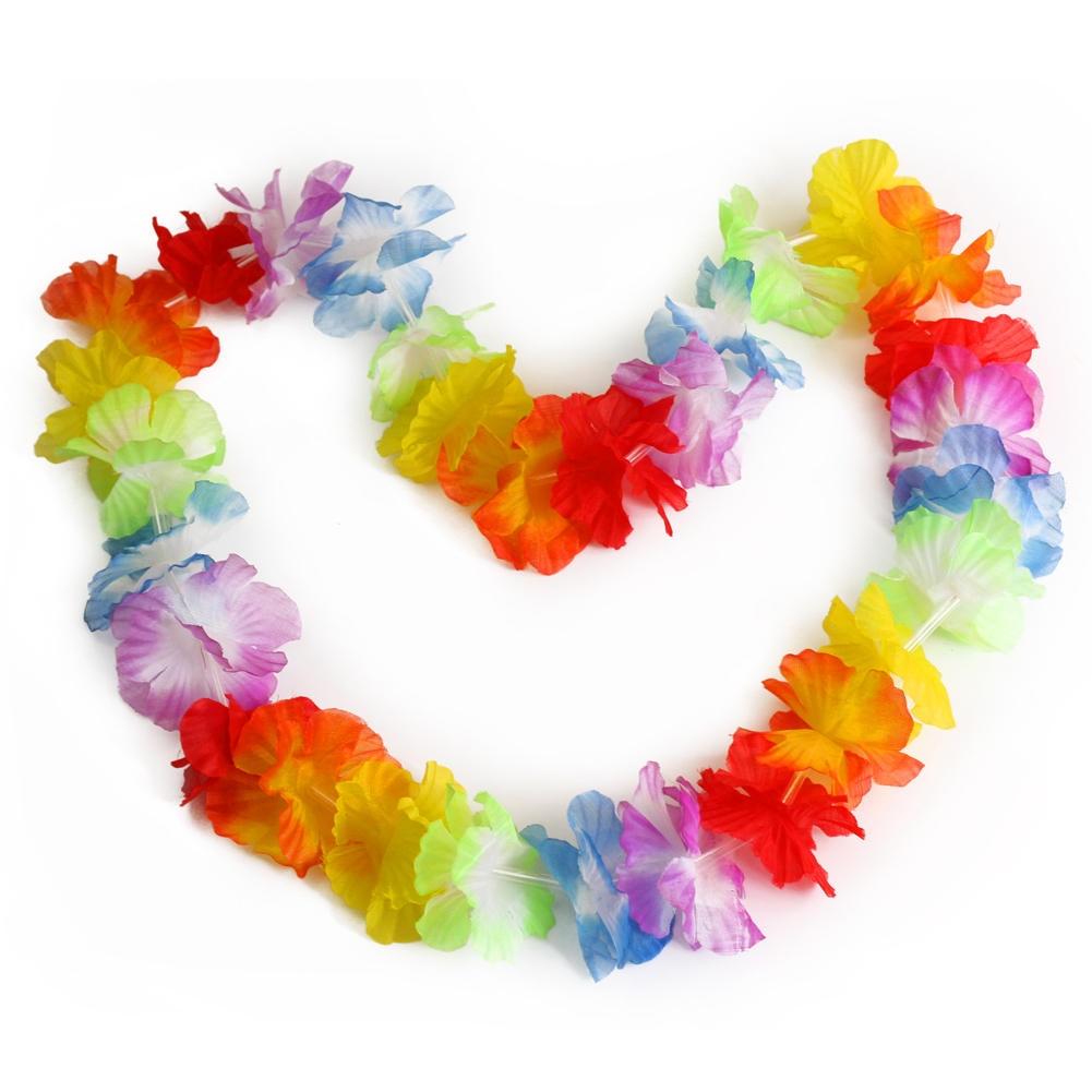 10 Pcs Hawaiian Beach Luau Party Flower Garland Lei Leis Necklace