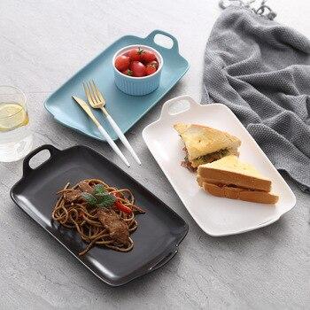 1 pcs 직사각형 세라믹 스토리지 트레이 장식품 오븐 전자 레인지 플레이트 과일 야채 그릇 장식 공예 파티 바베큐 접시
