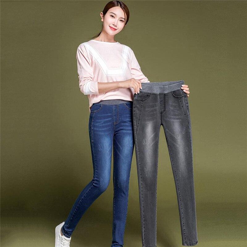 Mom Jeans Gray Black Light Blue Plus Size High Waist Elastic Skinny Pants 2019 New Spring Korean Slim Jeans Women Clothing LD882