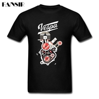 Fashion Vespa Motorcycle T Shirt Men Short Sleeve Organic Cotton Men Tshirt Streetwear Over Size