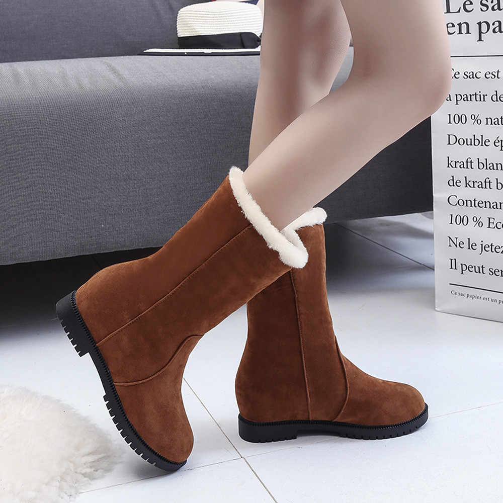 Giày Boot Nữ Da Lộn Nữ Mũi Tròn Đế Xuồng Trơn Mùa Đông Giày Thời Trang Nữ Màu Sắc Tinh Khiết Giữ Ấm Giày Nữ botas mujer