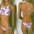 Mujeres de la Impresión Floral Bikini Set Halter crop top cuelgan Arriba cuello Bikinis set empuja hacia arriba el traje de Baño de Las Mujeres playa Del Traje de baño traje