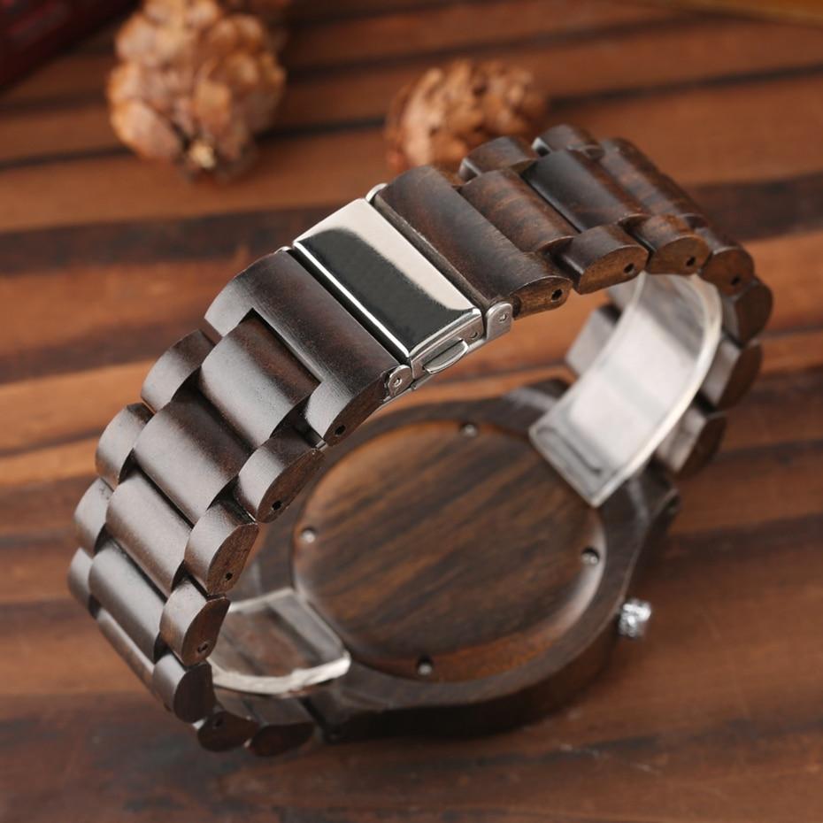 Wooden Watch Men's Creative Red Pointer Green Scale Round Analog Watch Natural Ebony Band Clock Man Fashion Quartz Wristwatches 2018  2020  (10)