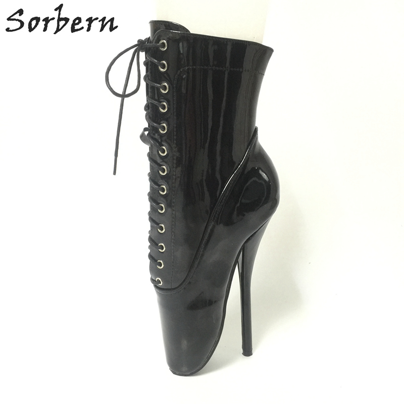 c77360100720 Sorbern Sexy Ballet High Heel 18cm Boots Ankle High Women Boots Lace Up Unisex  Shoes Black