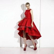 Rote Hohe Niedrige Abschlussball Kleid Couture 2016 A-linie Short Cocktail Party Kleider Vestido Formatura Bogen-schärpe Sexy Backless Graduation Kleid