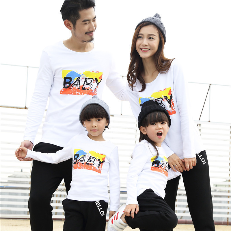 family clothing Autumn 2018 BABY Warm winter Bottoming Long sleeve T-shirt Dad Mom Kids Fleece Sweatshirts factory direct 2-8T