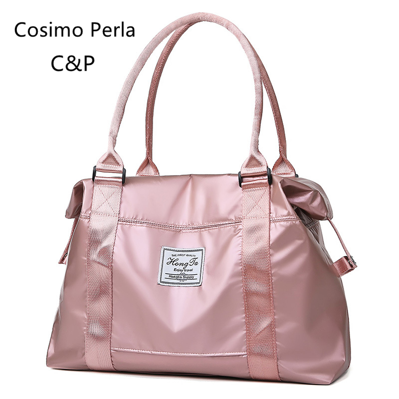 Pink Oxford Women Duffle Travel Bags Carry On Luggage Yoga Portable Handbags Waterproof Sport Gym Bags Short Trip Weekender Tote