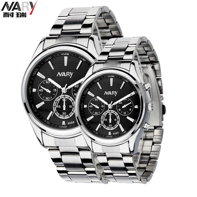 Men stainless steel fashion lovers NARY quartz movement watch is waterproof Erkek Kol Saati Relogio Hotel masculino relojes full stainless steel men s sprot watch black and white face vx42 movement