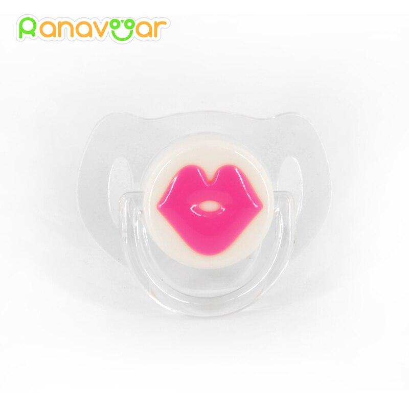 Körpə qırmızı dodaqlar Kisses Pacifiers Silikon Əyləncəli məmə zarafatı şişkin toddler dişləri sakitləşdirir Pacifiers 9012