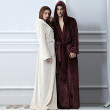 Lovers Plus Size Hooded extra Long Flannel Warm Bathrobe Men Women Thickening Winter Kimono Bath Robe Male Dressing Gown Robes cheap RUILINGSHA Long Sleeve Polyester Solid Hooded Men Women Long Warm Robes XL-62cm