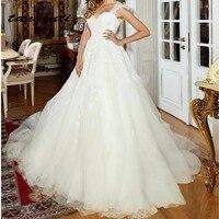 Vintage A Line Wedding Dresses Lace Appliques Tulle Bride Bridal Dress Wedding Gowns Long Weddingdress vestido de noiva On Sale