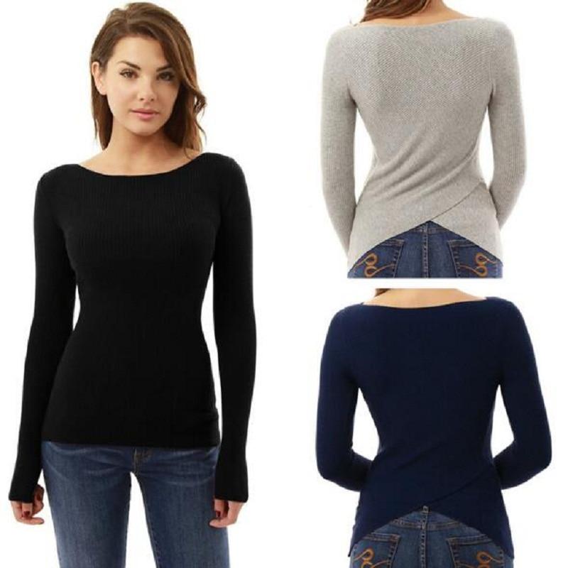 Winter Casual Sexy Women T-shirts Long Sleeve Slim Shirt Gray Black Blue Pullover Irregular Women Clothes Back Split Female Tops