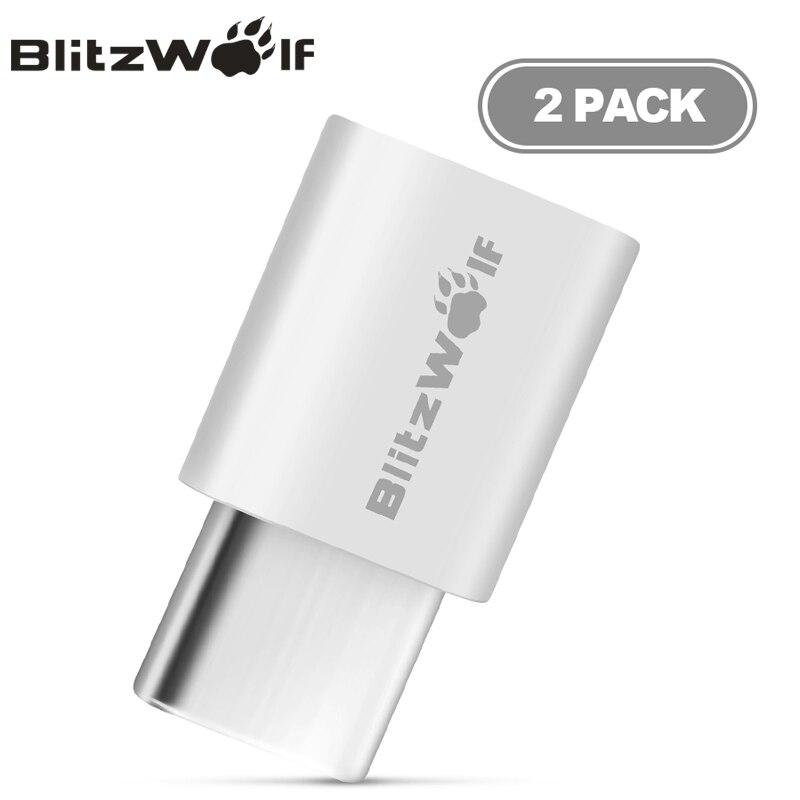 BlitzWolf 2 шт микро USB к USB Type-C адаптер папа к женскому конвертировать кабель Разъем для Xiaomi Type-C мобильных телефонов адаптер