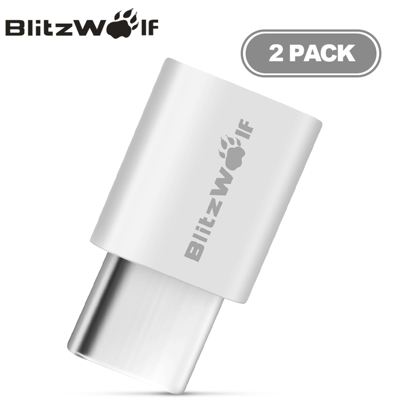 BlitzWolf  2PCS Micro USB To USB Type-C Adapter Male To Female Convert Cable Connector For Xiaomi Type-C Mobile Phones Adapter