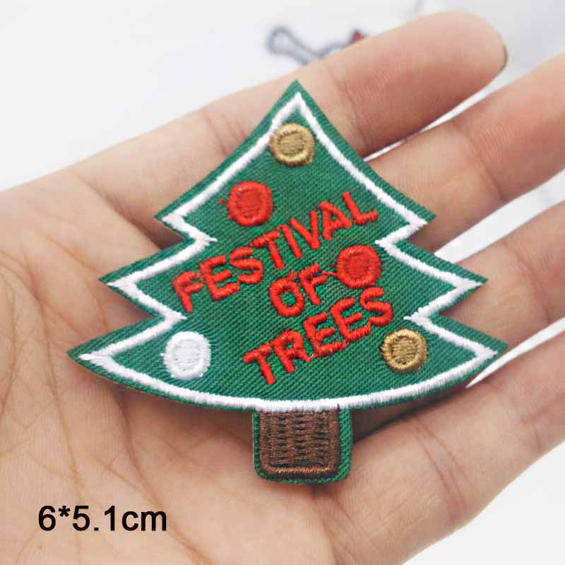 Christmas Tree Patch: Christmas Tree Iron On Patch Embroidered Clothes Patch For